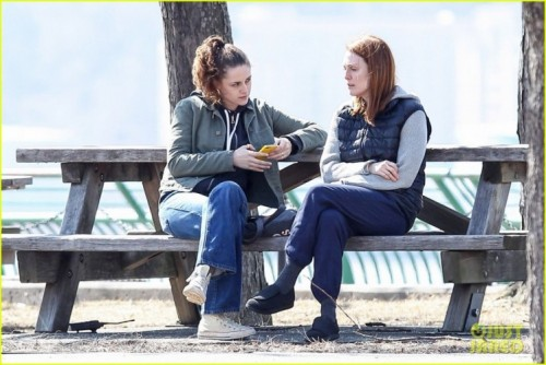"""New York, NY - Kristen Stewart and Julianne Moore take a stroll in the park while filming their new movie """"Still Alice"""".  The co-stars bundled up in layers in the cold weather, wearing very minimal make up for their roles. AKM-GSI        March 14, 2014 To License These Photos, Please Contact : Steve Ginsburg (310) 505-8447 (323) 423-9397 steve@akmgsi.com sales@akmgsi.com or Maria Buda (917) 242-1505 mbuda@akmgsi.com ginsburgspalyinc@gmail.com"""