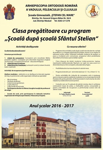 Clasa Sf Stelian afis 2016-2017