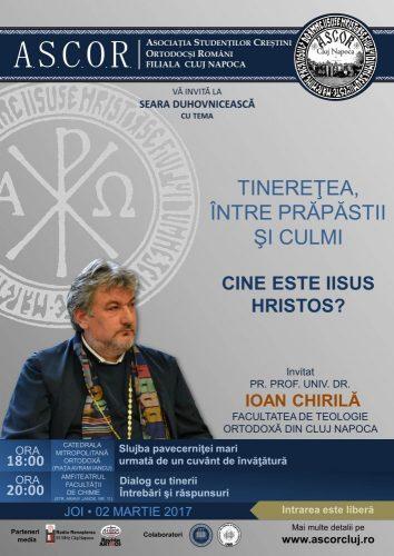 Părintele prof. Ioan Chirilă, invitatul ASCOR CLUJ la prima seară duhovnicească din Postul Mare