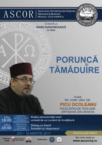 Seară duhovnicească A.S.C.O.R. Cluj – Pr. Conf. Univ. Dr. Picu Ocoleanu