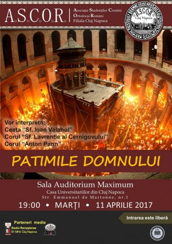 """Concertul """"Patimile Domnului"""" interpretate de tinerii de la Biserica Studenților și ASCOR Cluj"""
