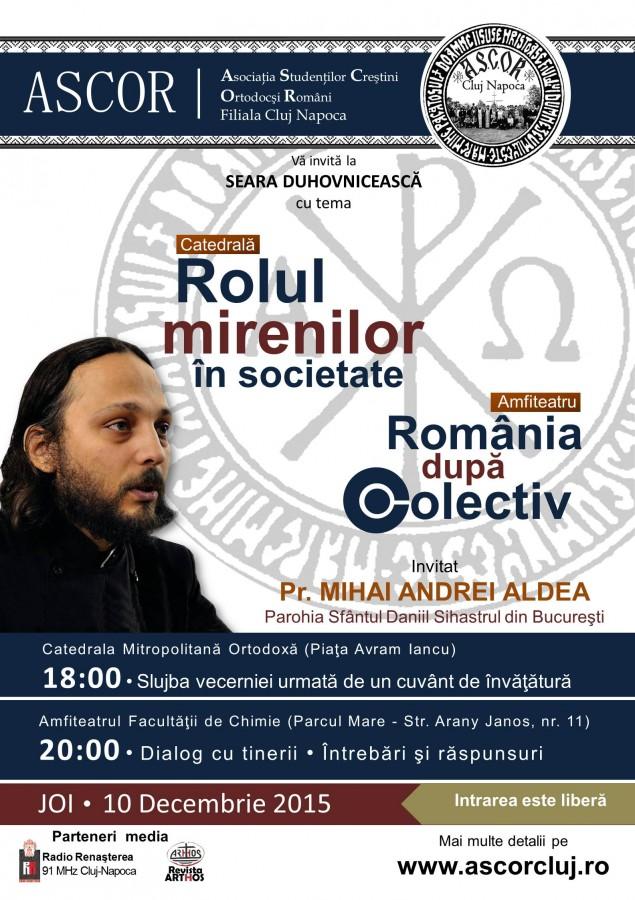 Părintele Mihai Andrei Aldea, invitat în a patra seară duhovnicească organizată de ASCOR Cluj