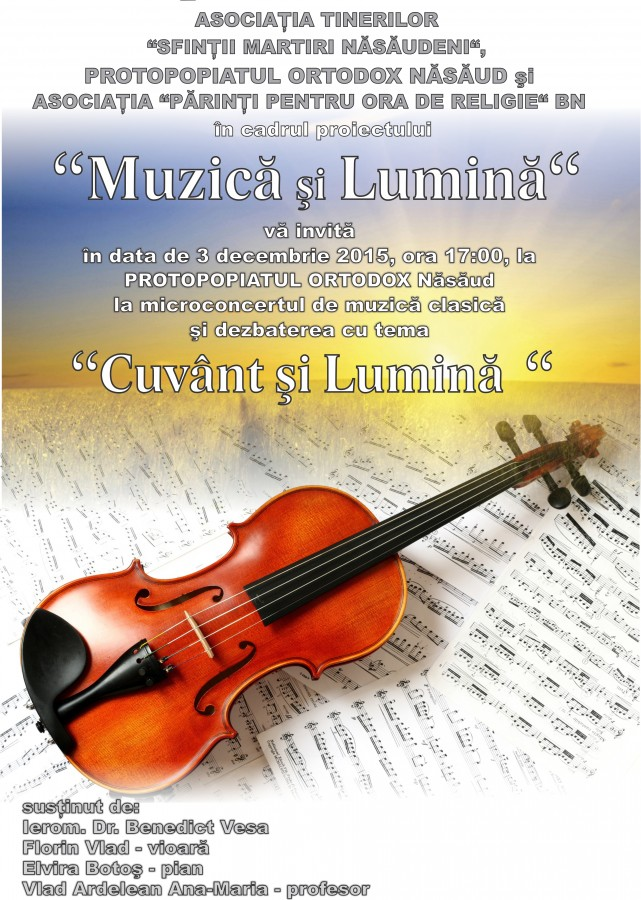 Concert de muzică clasică și dezbatere despre Cuvânt și Lumină, organizate la protopopiatul Năsăud