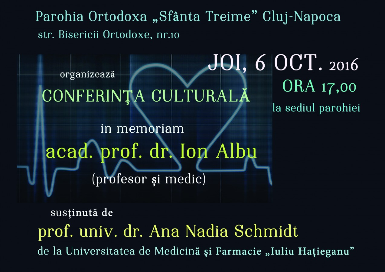 """Conferințe de excepție despre mari personalități, în Parohia clujeană """"Sfânta Treime"""""""