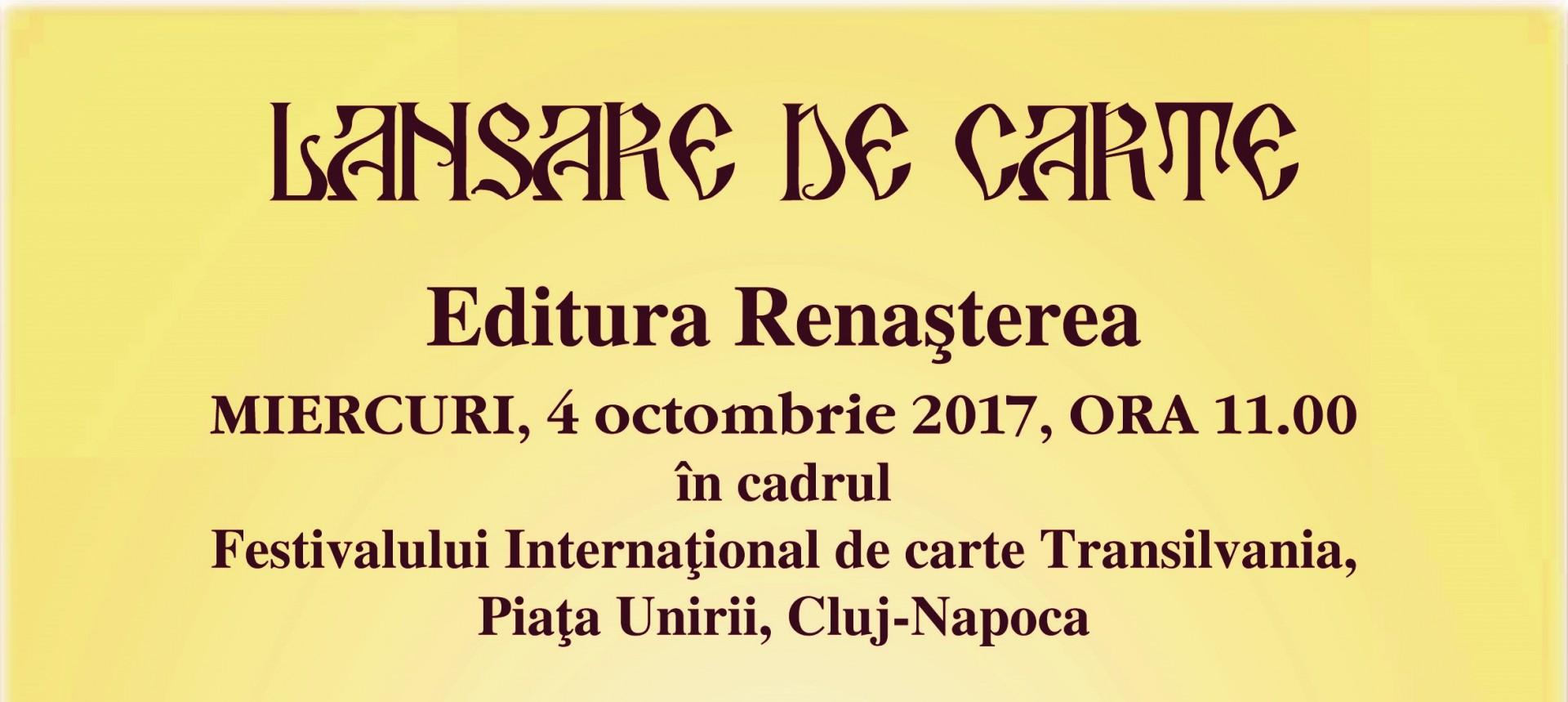 Editura Renașterea a Arhiepiscopiei Clujului, prezentă la FICT 2017