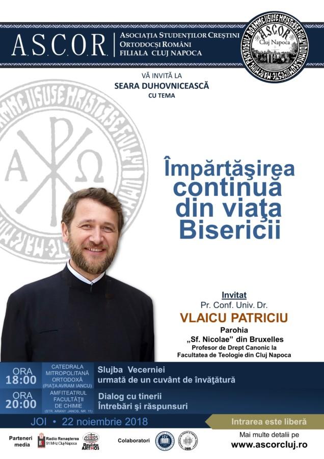 Seară duhovnicească A.S.C.O.R. Cluj - Invitat: Pr. Vlaicu Patriciu