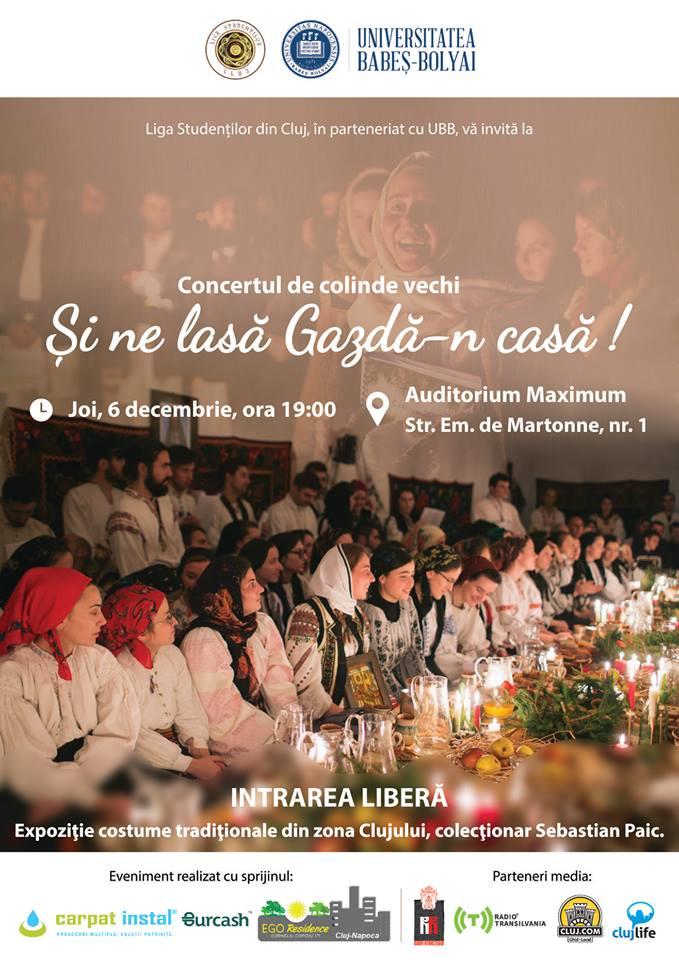 """""""Şi ne lasă gazdă-n casă"""" – Concert de colinde vechi pentru clujeni, joi, 6 decembrie 2018"""