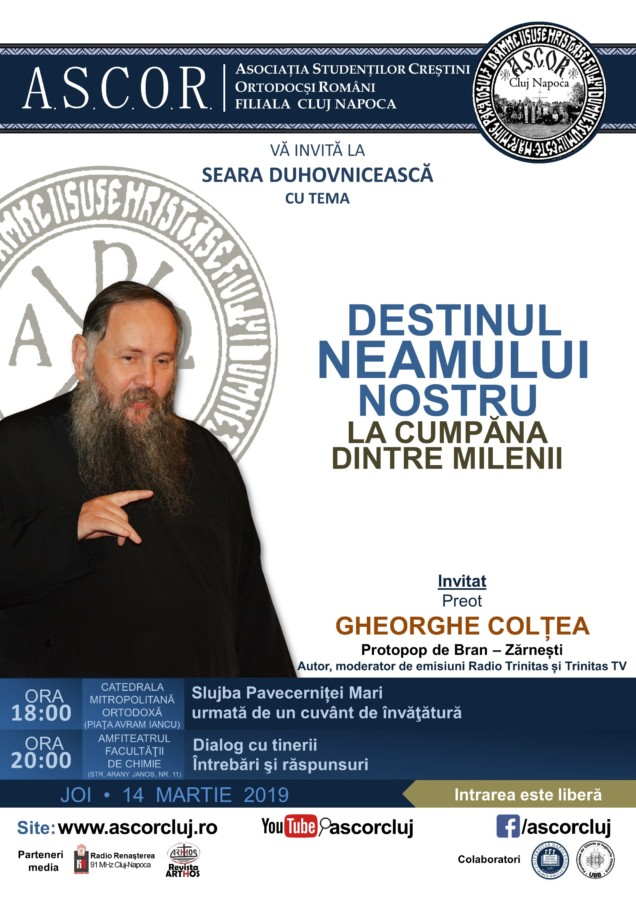 Destinul neamului nostru – Pr. Gheorghe Colțea – Serile duhovnicești ASCOR Cluj din Postul Mare 2019