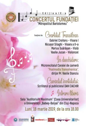 """Invitaţie - Concertul Fundației """"Mitropolitul Bartolomeu"""", la a IX-a ediţie"""