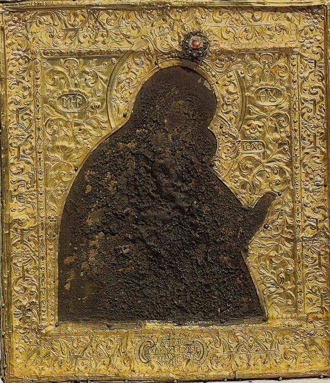 Maica Domnului a Imnului Acatist, tempera pe lemn, sec. al VII-lea