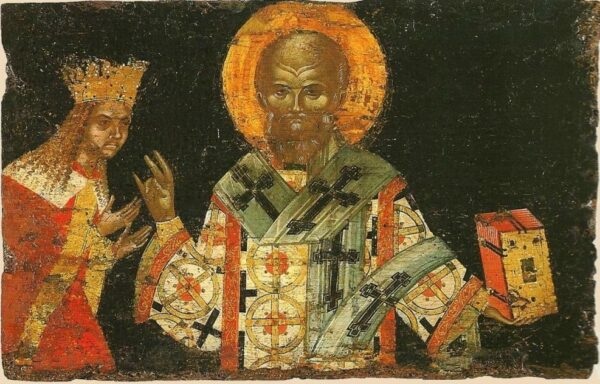 Sfântul Nifon și Sfântul Voievod Neagoe Basarab, tempera pe lemn, 1515?, capacul raclei Sfântului Nifon