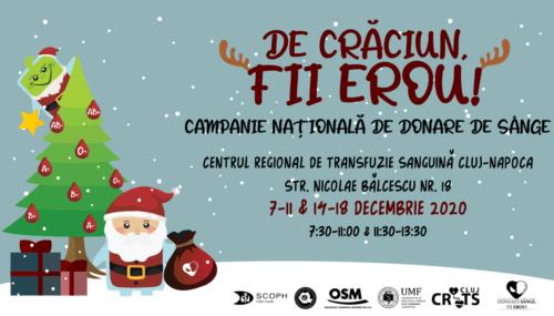 """Campania națională de donare de sânge """"De Crăciun, fii erou!"""""""
