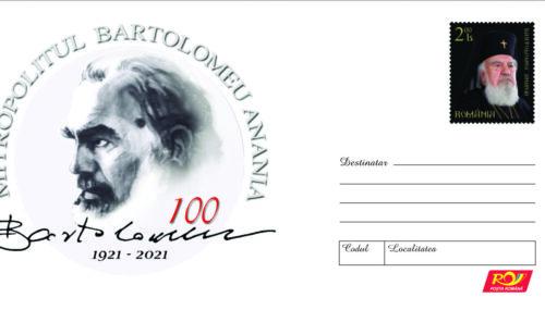 Mitropolitul Bartolomeu, omagiat de Romfilatelia printr-un întreg poștal aniversar