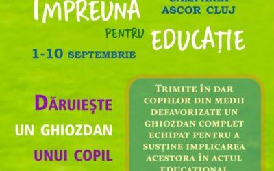 Dăruiește un ghiozdan unui copil în nevoie | Campania ASCOR Cluj